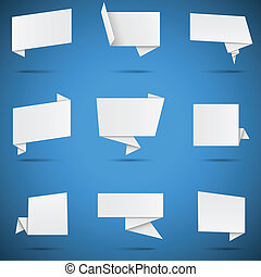 Set of 9 white paper origami speech bubbles, isolated on blue background. Eps10 file with transparency.