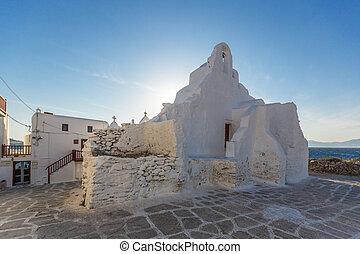 White orthodox church in Mykonos, Cyclades Islands