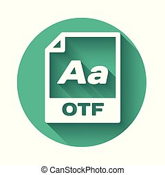 White OTF file document icon. Download otf button icon isolated with long shadow. OTF file symbol. Green circle button. Vector Illustration
