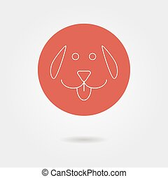 white outline dog icon in circle with shadow