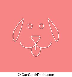 white outline dog icon on pink background