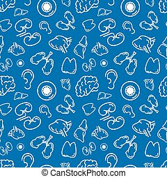 White outline human organs on blue, seamless pattern
