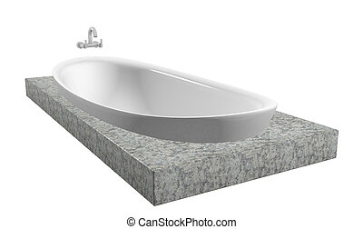 White oval bath with chrome faucet, sitting on a granite slate