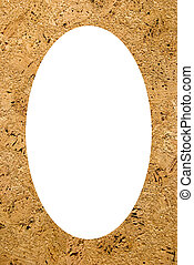 White oval photo frame. Plate made of cork tree
