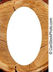 White oval photo frame texture of cut oak backdrop