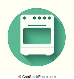 White Oven icon isolated with long shadow. Stove gas oven sign. Green circle button. Vector Illustration