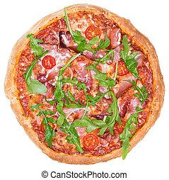 white), (over, prosciutto, casalingo, pizza