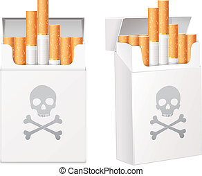White pack of cigarettes with the image of the Jolly Roger (...