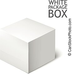 White Package Square. Cardboard Package Box.
