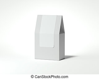 White package with blank sticker. 3d rendering