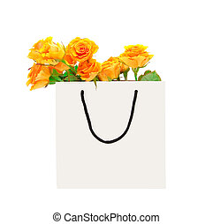 White package with roses on a white background