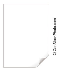 white pad page curl - Single piece of white paper with a...