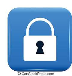 white padlock on blue button, vector icon, eps10