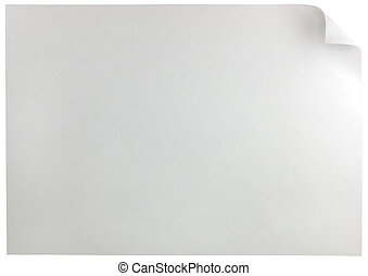 White Page Curl, Horizontal - White Page Curl, isolated