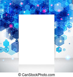 White page layout for Your business presentation, blue backdrop. Abstract geometric background with glitter. Vector image.