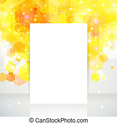 White page layout with place for your text, yellow backdrop.