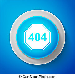 White Page with a 404 error icon isolated on blue background. Template reports that the page is not found. Circle blue button with white line. Vector Illustration