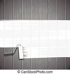 White Paint Roller on Planks Background. Vector