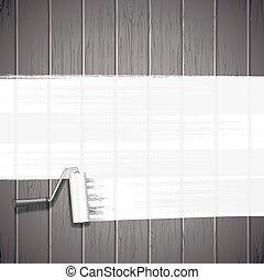 White Paint Roller on Planks Background. Vector