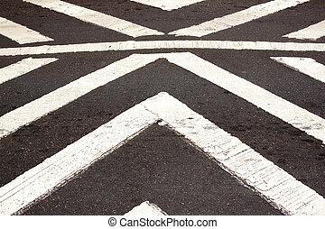White Painted Pedestrian Crossing On Asphalt Roadway