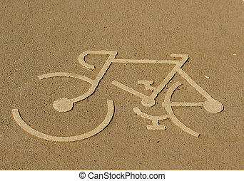 white painted sign for bikes
