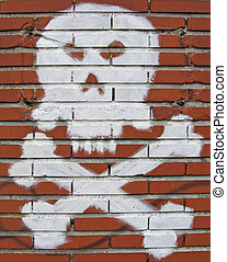 white painted skull and bones on grungy brick wall