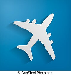 white paper airplane on the blue background