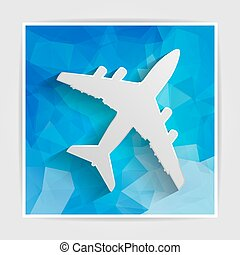 white paper airplane on the blue triangular background