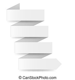 White paper arrow in zigzag shape on white background