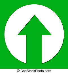 White paper arrow on green background