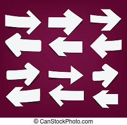 White paper arrows. - Vector illustration of sticky...