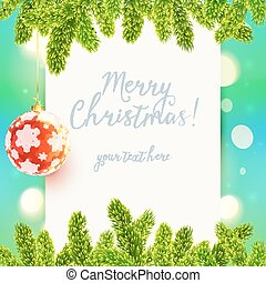 White paper background with fir tree branches and red Christmas ball