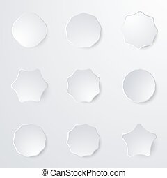 White paper badge stickers. Blank labels, tags in shape.