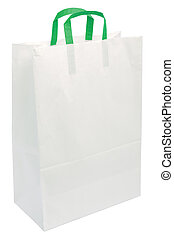 White Paper Bag, Green Handles, Isolated Closeup Copy Space Shopping Concept, Textured Blank Empty Texture Background