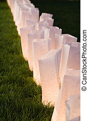 paper bag lamps - white paper bag lamps close up shot