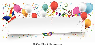 White Paper Banner Balloons Jesters Cap - White paper banner...