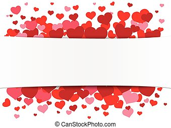 White Paper Banner Red Hearts