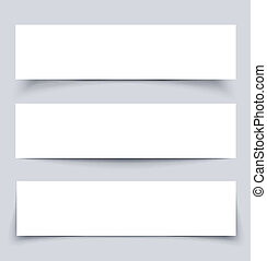 White paper banners with shadows