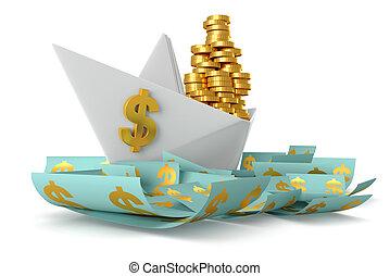 White paper boat dollars