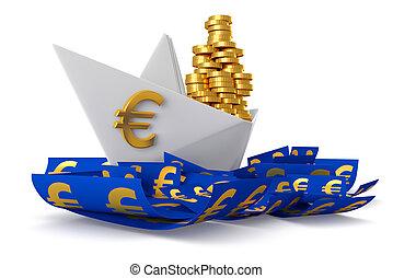 White paper boat euros