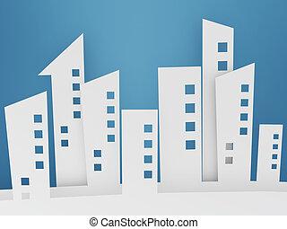 paper building shapes on blue background