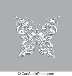 White paper butterfly with vintage pattern on gray background