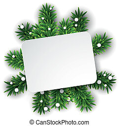 White paper card over christmas eve branches.