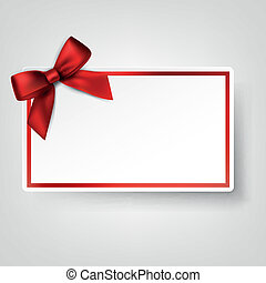 White paper card with gift red satin bow. - Gift card with...