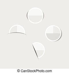 White paper circle stickers with shadows