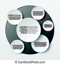 White paper circle with colorful edge on drop shadow for website presentation cover poster vector design illustration concept