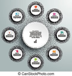 White Paper Circles Infographic Halftone 8 Options