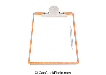 White paper, clip board and pencil on white background