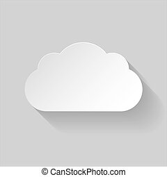 White paper cloud in flat style with long shadow on grey...