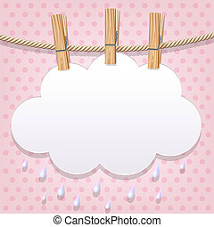 White paper cloud on a clothesline - White paper cloud ...